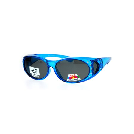 SA106 Rhinestone Polarized Womens 60mm Over the Glasses Fit Over Sunglasses (Blue Lens Sunglasses Polarized)