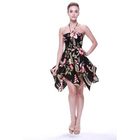Women's Hawaiian Gypsy Fairy Uneven Bottom Luau Dress in Rafelsia - Cactus Fancy Dress