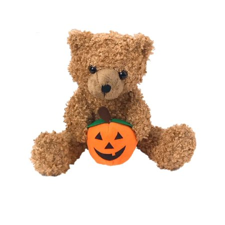 Halloween Fuzzy Halloween Teddy Bear Plush Pal With Light-Up Pumpkin Stuffed Animal