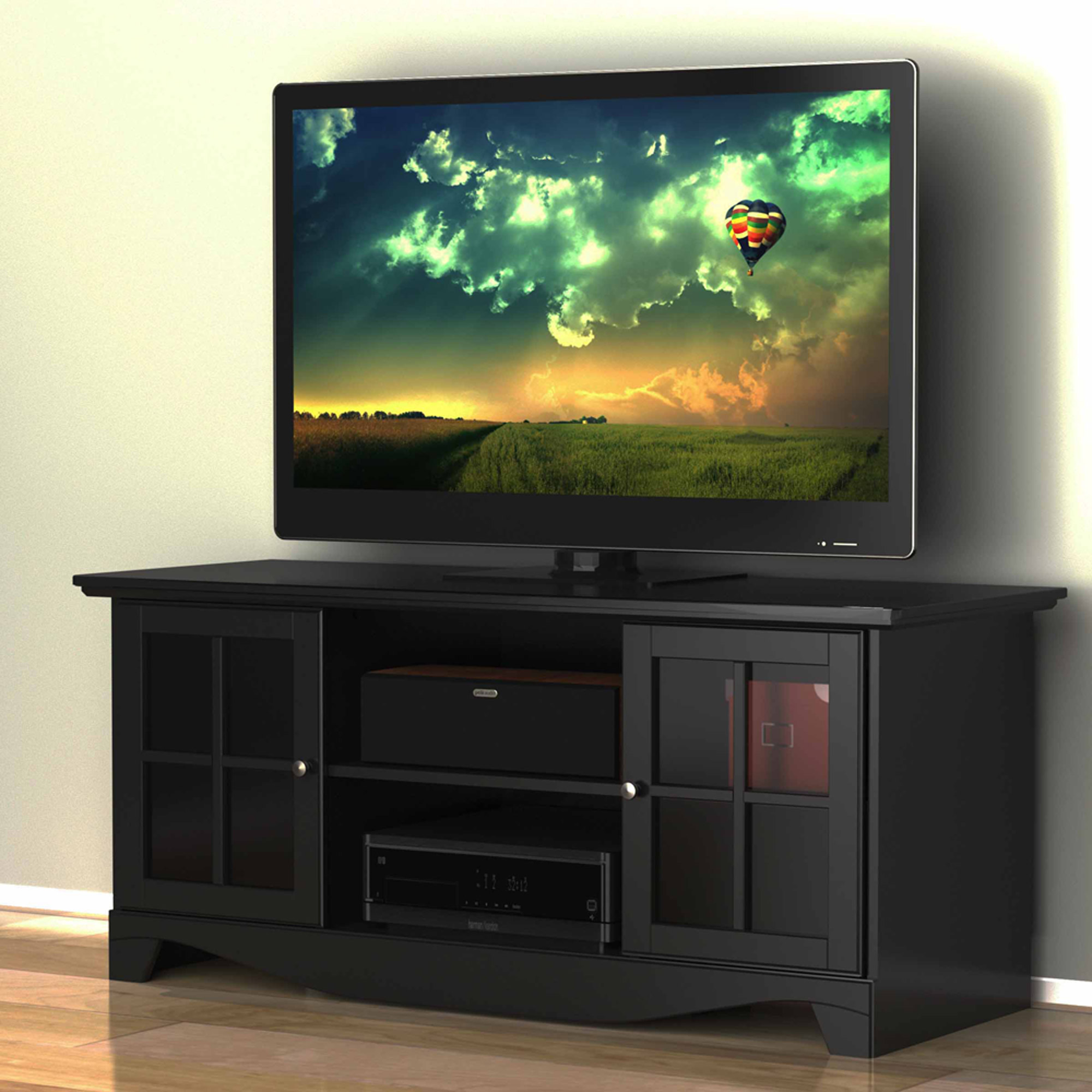 Pinnacle Center Channel Black TV Stand, for TVs up to 60""