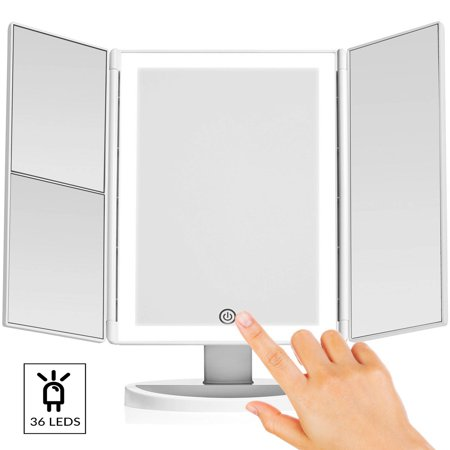 Large Four Light Vanity - Vanity Makeup Mirror with (Upgraded) Anti-Glare & Natural LED Lighting Controlled by Smart Touch Screen Sensor Dual Power Supply & 3x, 2x Magnification For Details by LivingPro