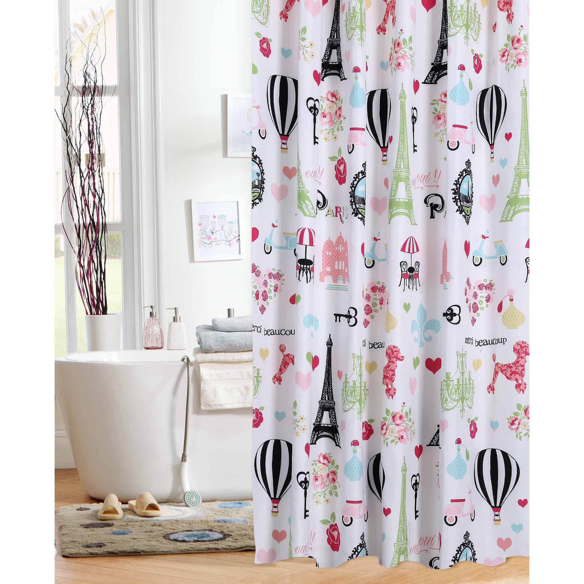 paris themed bathroom.  Mainstays Kids I Love Paris Shower Curtain Walmart com