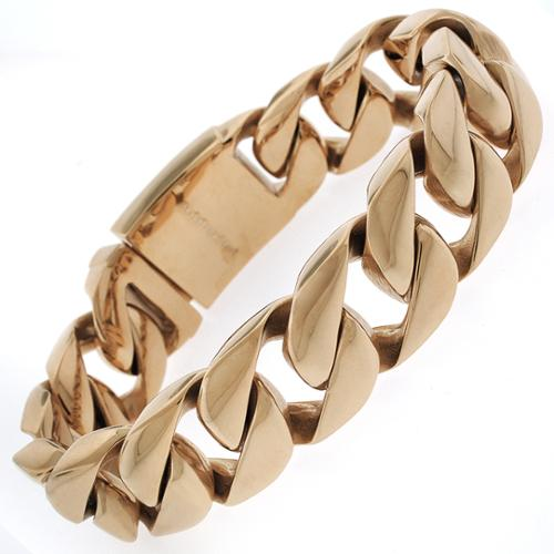 REL International Rose Goldplated Stainless Steel Men's Thick 8.5-inch Cuban Bracelet