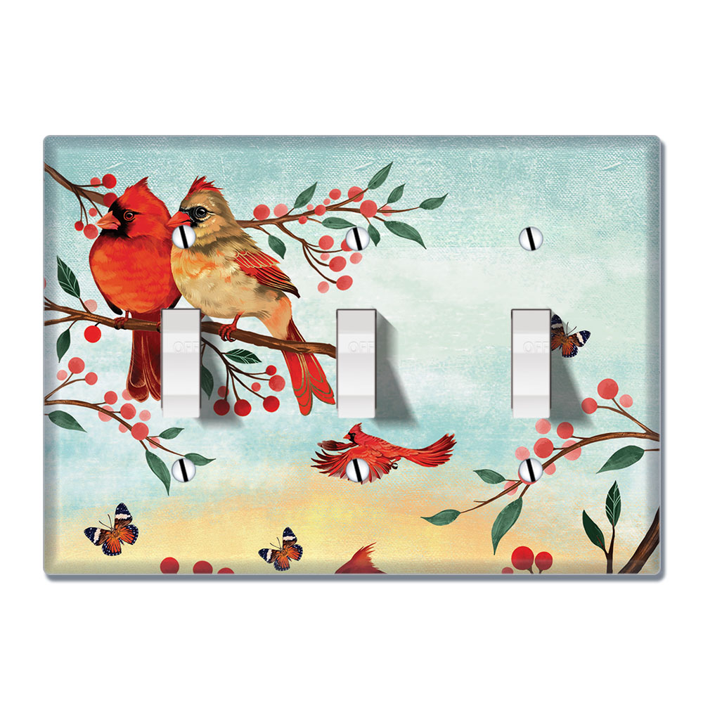 Wirester 3 Gang Toggle Wall Plate Switch Plate Cover Red Cardinal Birds Walmart Com Walmart Com