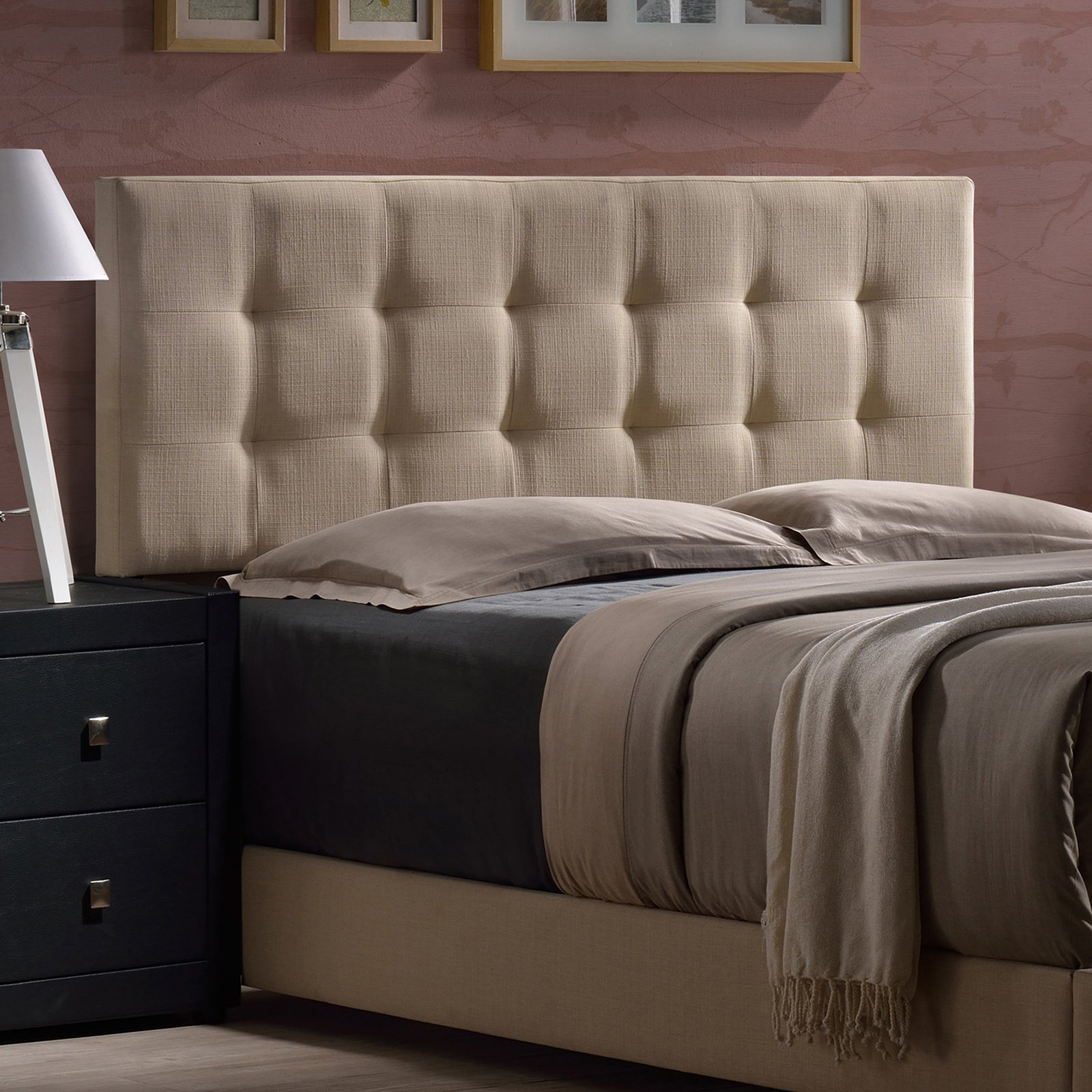 Duggan King Headboard, Linen Beige Fabric, Box 1 of 2