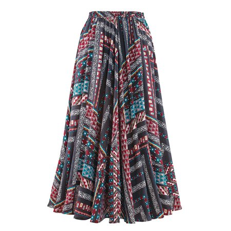 Style Full Skirt (Women's Aztec Print Full Sweep Skirt - Long, Elastic Waist, Boho Casual Style, X-Large, Black)