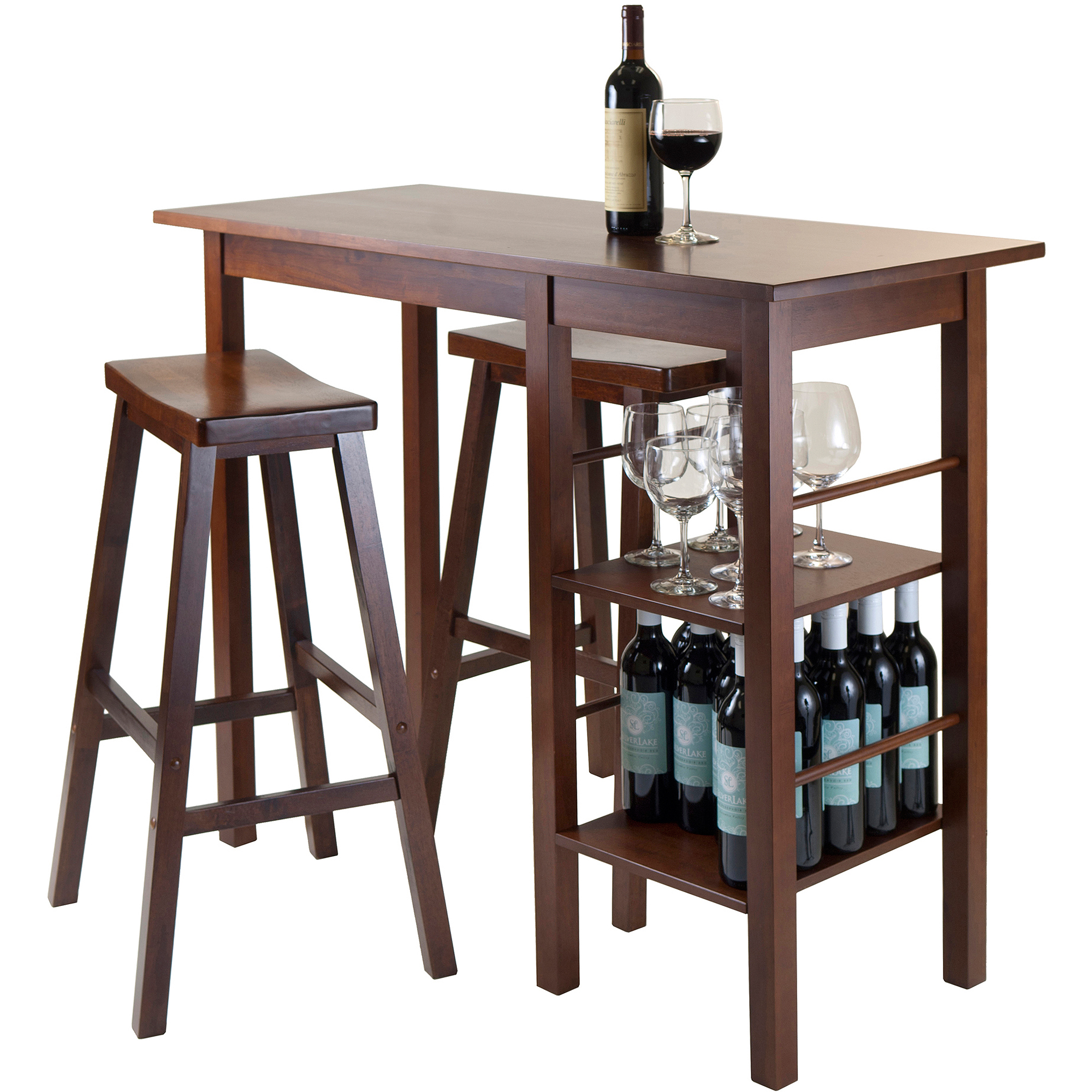 Click here to buy Egan Solid Wood Kitchen Island with Open Shelves, Walnut by Winsome.