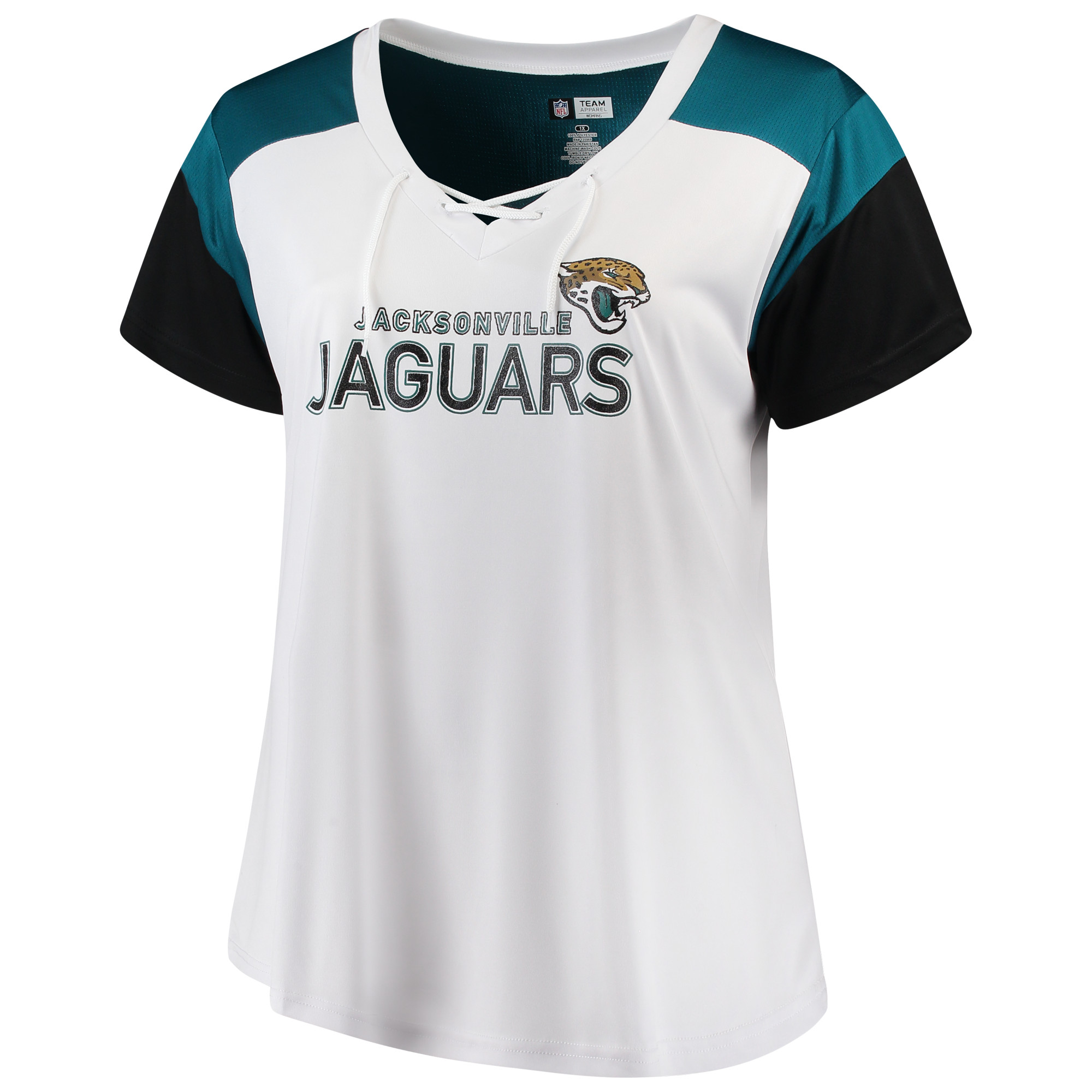 Women's Majestic White/Black Jacksonville Jaguars Lace-Up V-Neck T-Shirt