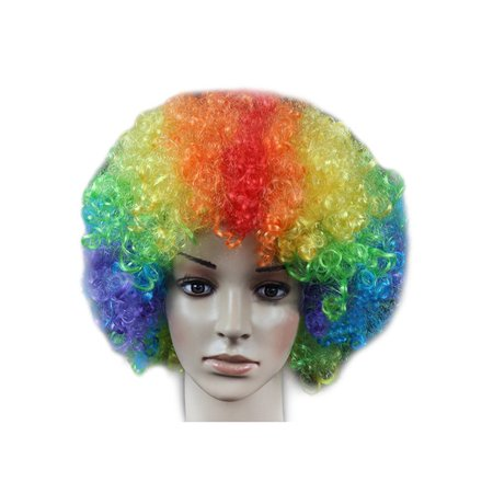 DYMADE 18 Colours Curly Afro Fancy Dress Funky Wig Disco Clown Mens/Ladies - Costume With White Dress