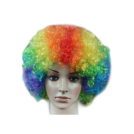 DYMADE 18 Colours Curly Afro Fancy Dress Funky Wig Disco Clown Mens/Ladies - Pink Crayola Costume