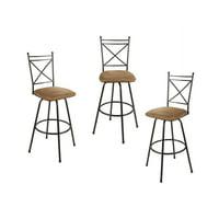 Mainstays Adjustable Metal Swivel Barstools, Antique Brass, Set of 3
