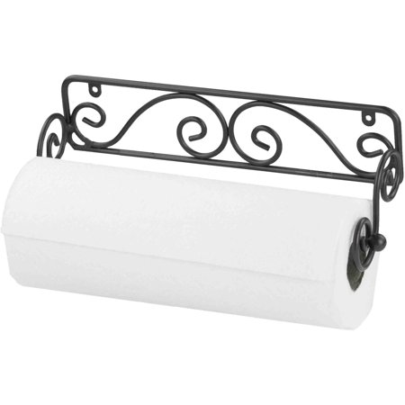 Home Basics Black Wall Mounted Paper Towel Holder
