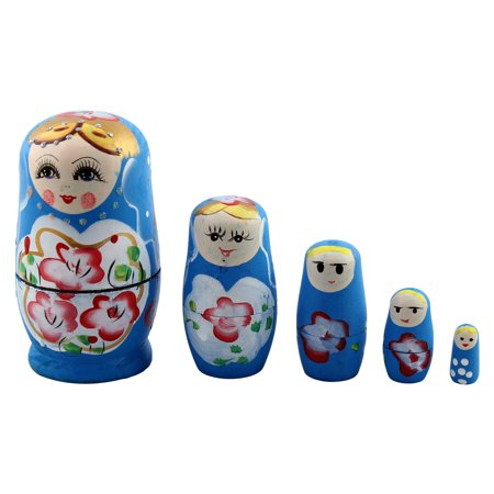 - Unique BargainsWooden Handmade Russian Nesting Dolls Matryoshka Present Gift Set Blue 5 in 1