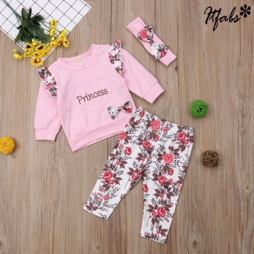 Newborn Toddler Baby Girl Winter Outfits Floral Clothes Hoodie Tops+Pants Set