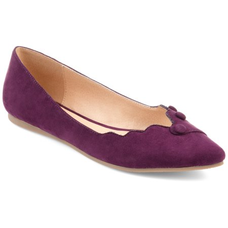 Womens Faux Suede Button Scalloped Flats