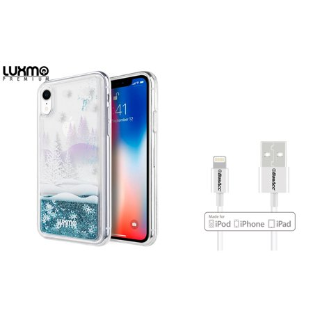 Water Winter Wonderland (Insten The Waterfall Liquid Sparkling Quicksand Winter Wonderland TPU Rubber Candy Skin Case Cover For Apple iPhone XR (Bundle with BasAcc MFI Certified Lightning)