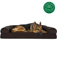 FurHaven Pet Dog Bed | Orthopedic Faux Fleece & Chenille Sofa-Style Couch Pet Bed for Dogs & Cats, Coffee, Jumbo