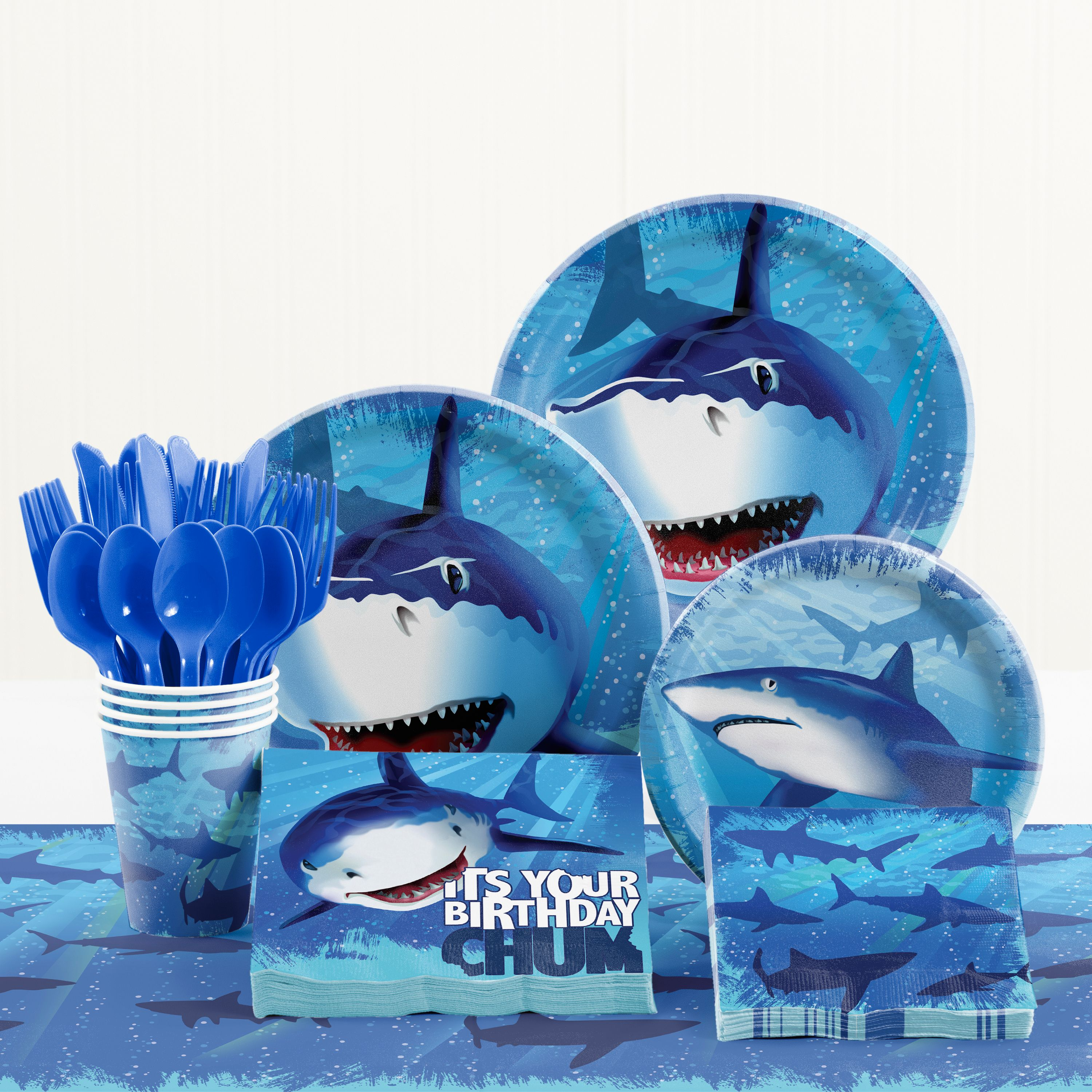 Shark Splash Birthday Party Supplies Kit