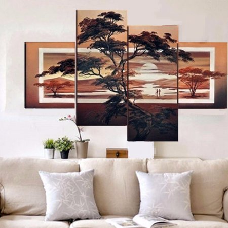- 4 pcs Large Modern Abstract Pine Sunset Art Oil Painting Wall Decor Canvas NO Frame