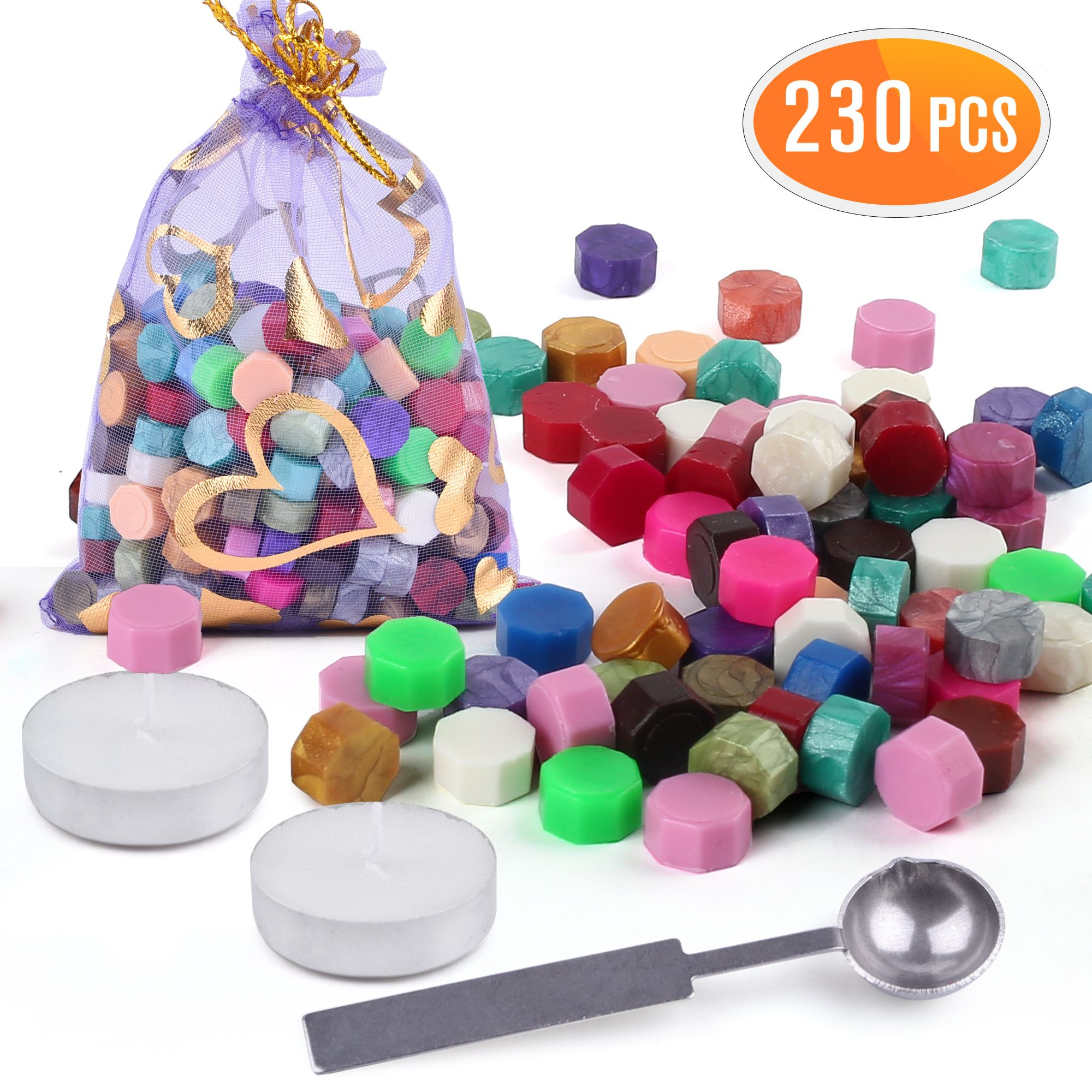 230 Pieces Octagon Wax Seal Beads Stamp Sealing Wax Beads Melting Spoon Kit