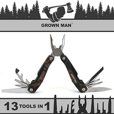 Grown Man™ Survivor Multi Tool - Camouflage - Includes Pliers, Knife, Saw, and more - Best Multitool for Hunting & Camping - Survival Gear - Tactical
