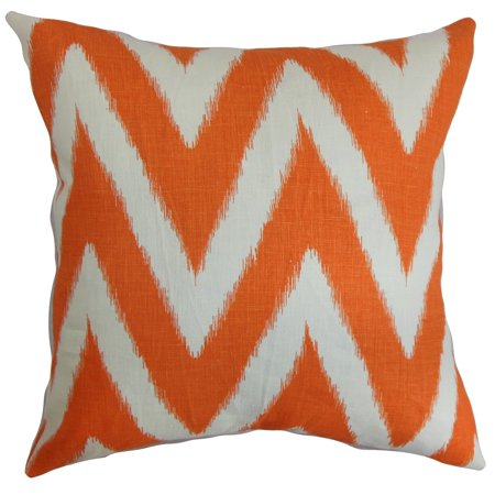 The Pillow Collection Bakana Zigzag Floor Pillow Orange