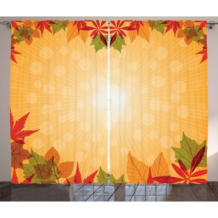 Harvest Curtains 2 Panels Set, Striped Dotted Background and Vibrant Maple Aspen Oak Leaves Seasonal Nature, Window Drapes for Living Room Bedroom, 108W X 90L Inches, Red Green Orange, by Ambesonne Red Oak Panel