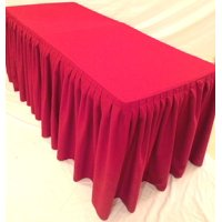 """5' ft. Fitted Polyester Double Pleated Table Skirt Cover w/Top Topper Events Red"""""""