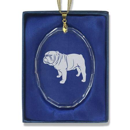 Oval Crystal Christmas Ornament - Bulldog - Crystal Bulldog