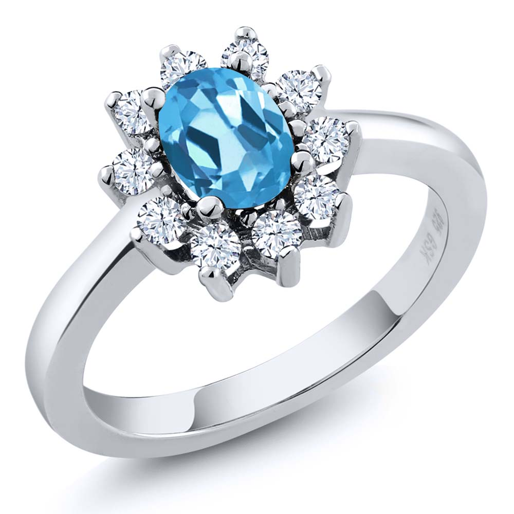 1.20 Ct Oval Swiss Blue Topaz White Topaz Sterling Silver Ring