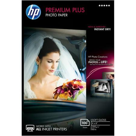 - HP, HEWCR666A, Premium Plus 4x6 Soft Gloss Photo Paper, 1 / Pack, White