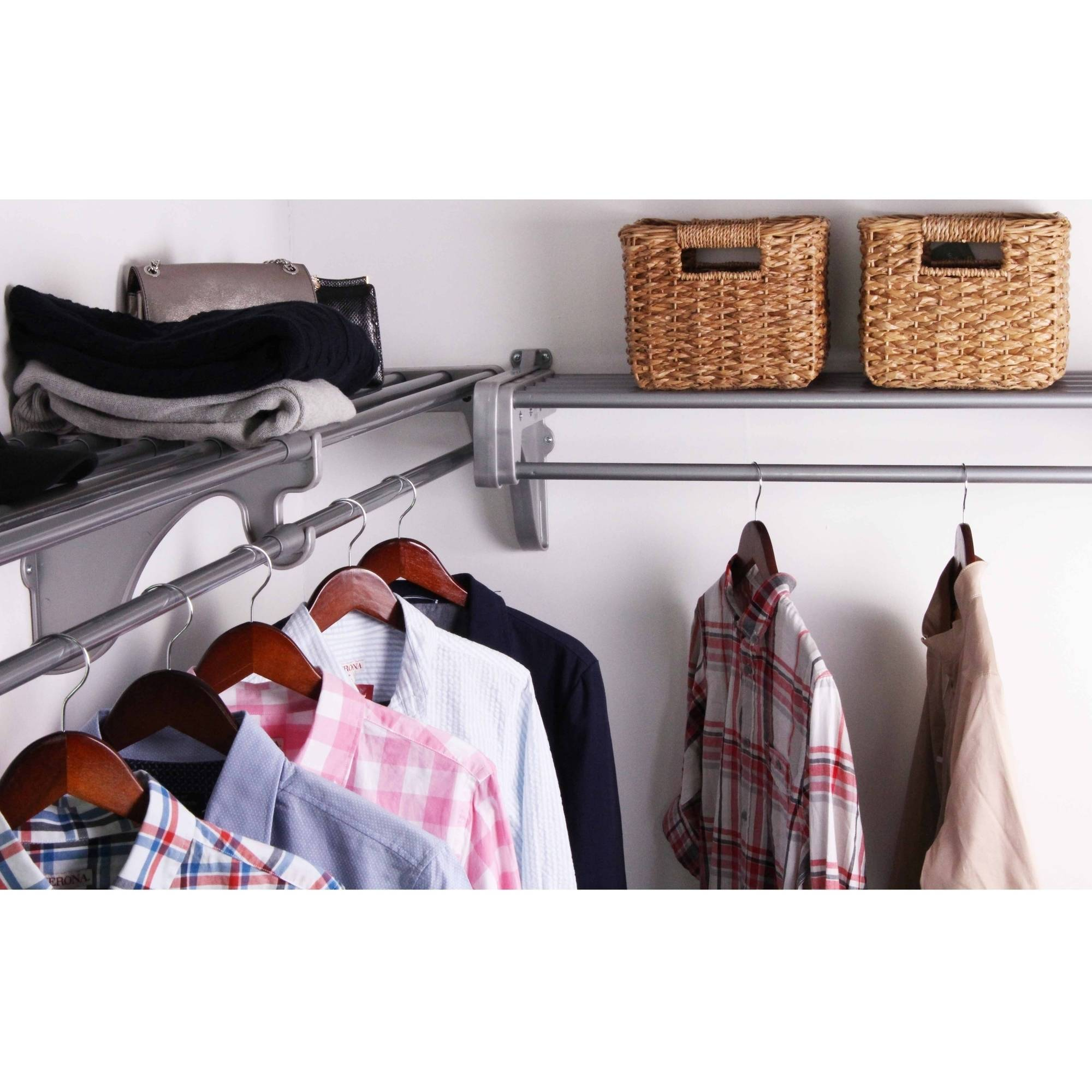 EZ Shelf 12' Closet Organizer Kit, Up to 12.2' of Hanging and Shelf Space, Silver