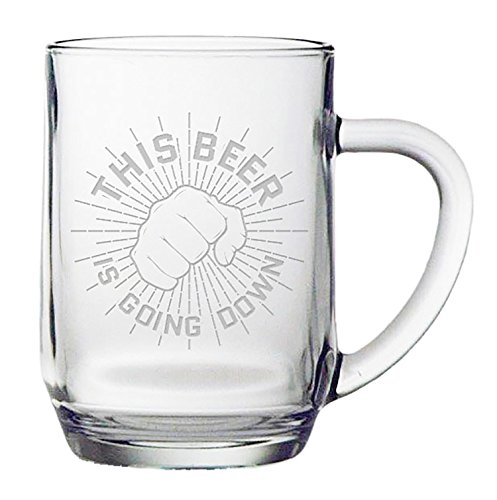 Fineware This Beer Is Going Down - Funny Beer Mug - 20 ounce Etched Haworth Mug Gift for Men