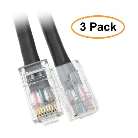 ACCL 7ft Cat5e RJ45 Bootless Ethernet Lan Cable, Black, 3pk Our Cat5e Bootless Snagless Network Patch Cable offers universal connectivity to computers and network components, such as routers, switch boxes, network printers, network attached storage (NAS) devices, VoIP phones, and PoE devices. These Cat5e Bootless Snagless Network Patch Cable offers universal connectivity to computers and network components, such as routers, switch boxes, network printers, network attached storage (NAS) devices, VoIP phones, and PoE devices. Specifications:  Cable Type: CAT5E 4-Pair UTP  Outside Diameter: 5.8  0.3 mm (0.23  0.01 inch)  Connector Type: RJ45  UL Listed, TIA/EIA 568-C.2 Verified, RoHS Compliant  Power over Ethernet (PoE) and Voice over IP (VoIP) Compliant