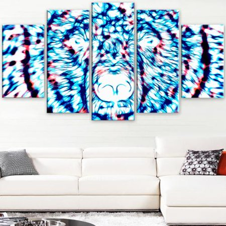 DESIGN ART  'Psychedelic Bear - Blue' Large Animal Canvas (Psychedelic Bear)