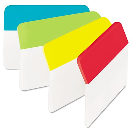 Post It Tabs Angled Tabs  2 X 1 1 2  Solid  Aqua Lime Red Yellow  24 Pack