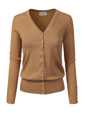 b6876cab Product Image Made by Olivia Women's Classic Button Down Long Sleeve V-Neck  Soft Knit Sweater Cardigan