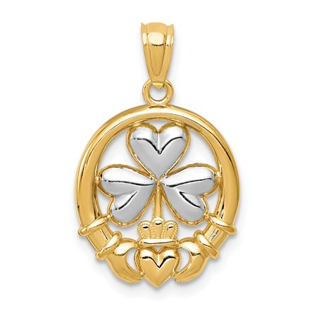 Claddagh White Pendant - 14k Yellow Gold & White Rhodium Two Tone Claddagh and Shamrock Pendant