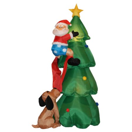 - The Holiday Aisle 6 ft. Christmas Tree with Santa and Dog Decoration