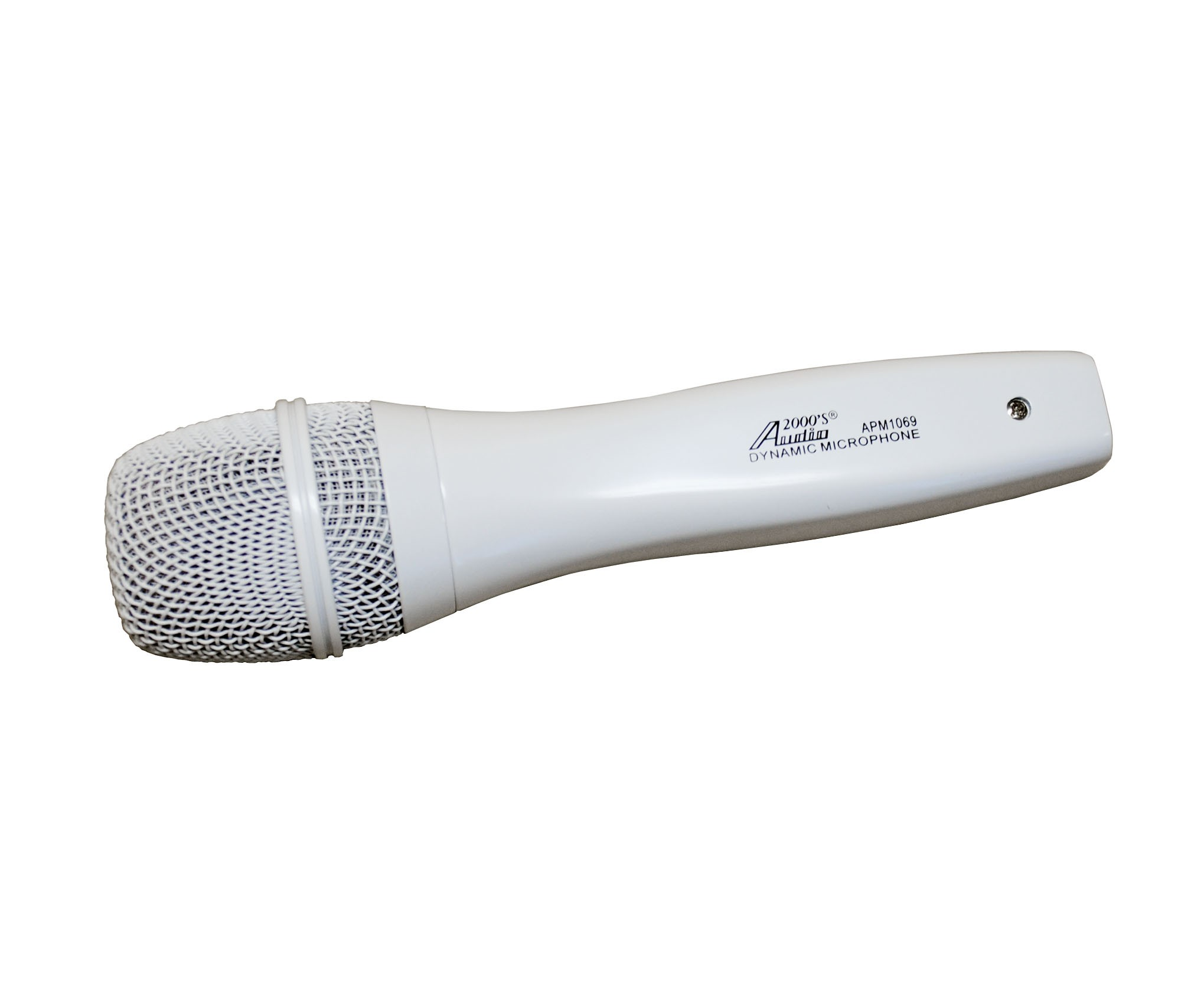Audio2000 APM1069 Dynamic White Microphone with Clips by