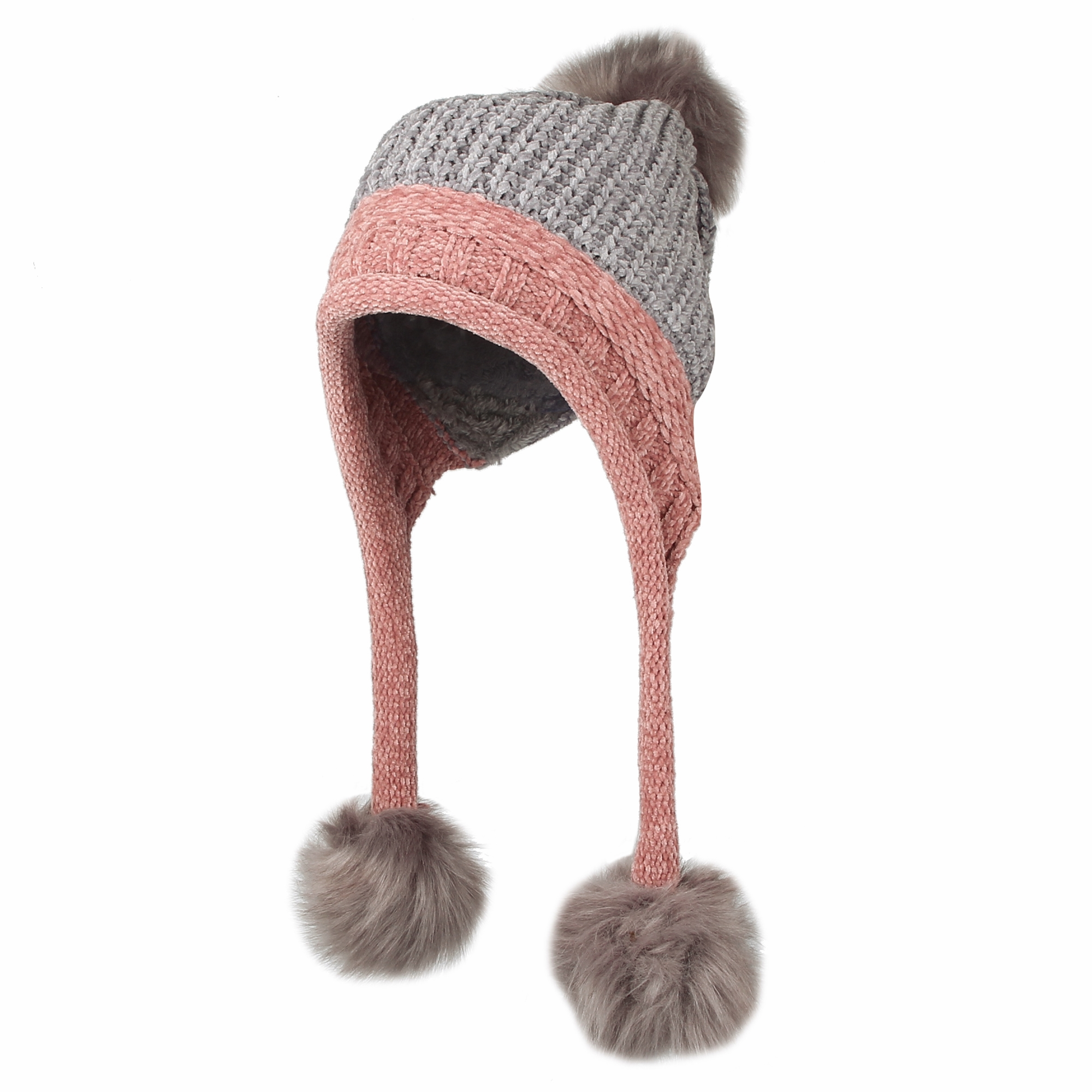 WITHMOONS Fleece Lining Thick Cable Knit Beanie Hat Pom Earflaps DZ70029 ( Grey) - Walmart.com a79f0be2f5f