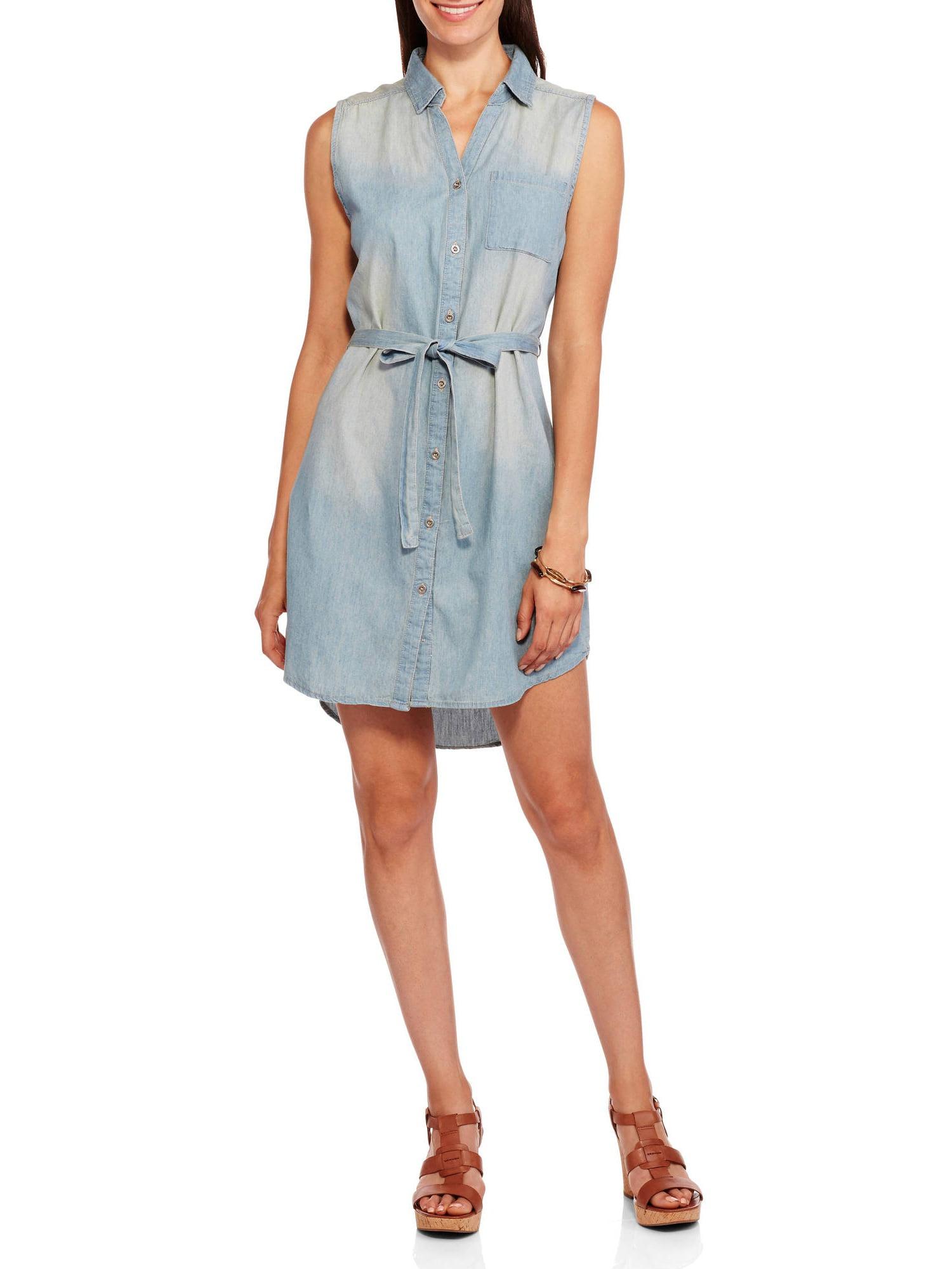 Brooke Leigh Womens Self Tie Sleeveless Chambray Shirt Dress