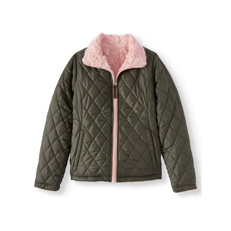 BHIP Reversible Quilted Zip Front 2-in-1 Jacket with Fur Lining (Big Girls)