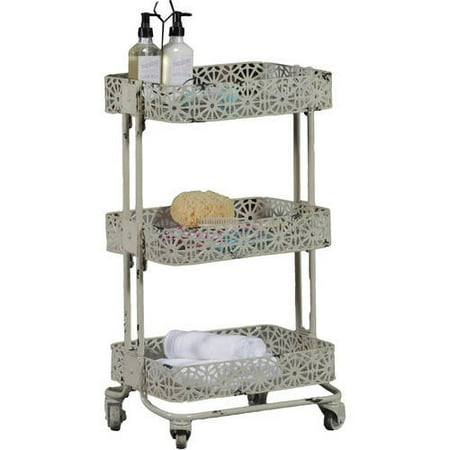 Linon Metal Three Tier Cart, 29 inches Tall, Multiple Colors