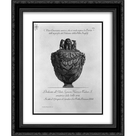 Giovanni Battista Piranesi 2x Matted 20x24 Black Ornate Framed Art Print 'Cinerary vase you see over the front door of the Palace of the Villa Panphili'