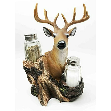 Rustic Woodlands Wild Deer Big Buck Bust Figurine Salt Pepper Shakers Holder