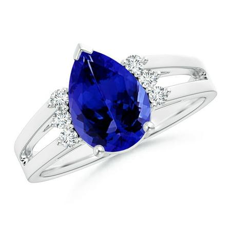 angara december birthstone ring pear tanzanite ring with triple