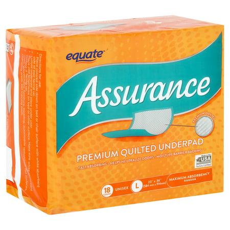 Equate Assurance Maximum Absorbency Unisex Premium Quilted Underpad, L, 18 - Premium Super Absorbent Underpad