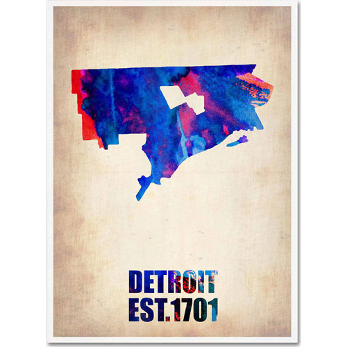 "Trademark Fine Art ""Detroit Watercolor Map"" Canvas Art by Naxart"