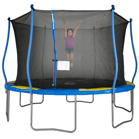 Bounce Pro 12-Foot Trampoline, with Classic Enclosure Flashlight Zone, Blue/Yellow